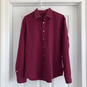 UNTUCKit Men's Long Sleeve Red & Blue Button Down
